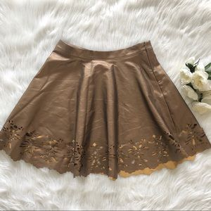 Dresses & Skirts - Boutique | Bronze Laser Cut Faux Leather Skirt